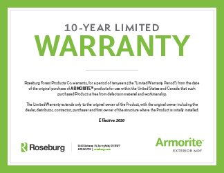 Roseburg Armorite Warranty